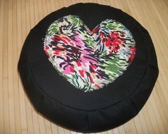 "UNFILLED Zafu Meditation Cushion. Dorm/Floor Pillow. Black w. Jazzy Heart applique. 15x5. 6""L. Velcro closure, handle. USA Handmade"
