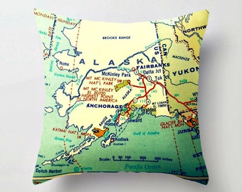 Alaska Gifts, Alaska Map Pillow Cover, State Map, Anchorage Alaska Pillow, Alaska Home, Alaska Gifts for Him,, Fairbanks AK  Throw Pillow