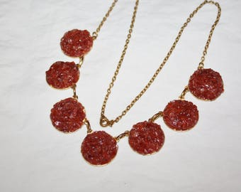 Vintage Gemstone Necklace, Carnelian Stone Jewelry, 1960s  Jewellry