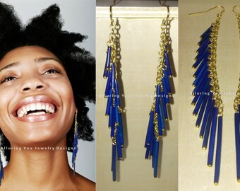 Porcupine Quill Earrings, Royal Blue - Porcupine Quill Tassel Earrings, Blue Shoulder Duster Earrings