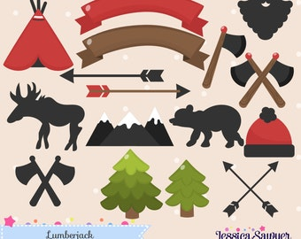 INSTANT DOWNLOAD, lumberjack clipart and vectors for personal and commercial use