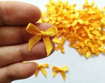 GOLD mini satin bows - Tiny Appliques - 4mm miniature 100 bows ( Yellow Orange )