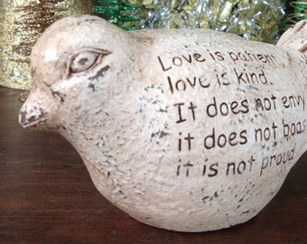 Love Is Patient Bird Scripture Bird Statue, 1 Corinthians 4:7, Antique White Bird, Indoor/Outdoor, Friendship, Encouragement