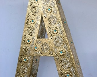 Large Metallic Gold Letter A