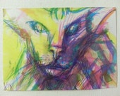 sale aceo PSYCHEDELICAT original kimartist cat closeup expressionism face kitty modern pop raw rough sketch purple pink yellow white sfa