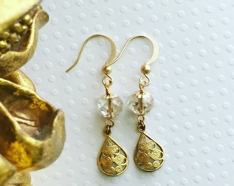 Dangle earrings. Handmade jewelry. Clear earrings. Glass bead and brass earrings. Boho jewelry. Sugarplum Gallery.