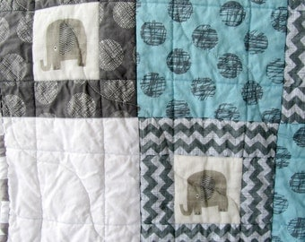 Elephant Baby Quilt, Blue and Gray Quilt