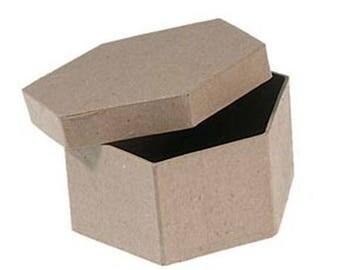 Four Inch Paper Mache Box Hexagon Shape