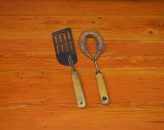 Vintage A & J spatula and vintage whisk wood handle kitchen utensils tools