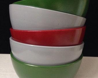 Hazel Atlas - Platonite - Ovide - Cereal Bowls - Set of Five - Burgundy, Cloud Grey, Green