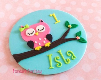 6 inch Personalized Owl Cake Topper