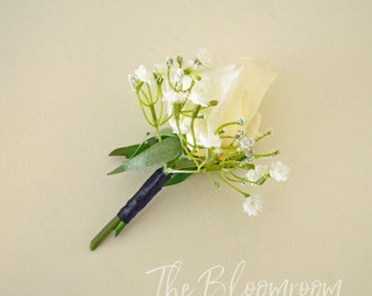 Silk buttonhole / Rustic buttonhole / Men's wedding boutonniere / Groom flower / Rustic boutonniere / Men's buttonhole / Garden boutonniere