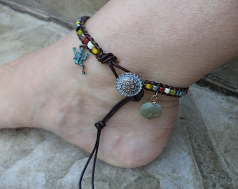 Frog Anklet Frog Jewelry Moon Anklet Moon Jewelry Bohemian Leather Anklet Boho Chic Leather Jewelry Cute Anklet