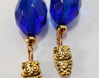 Cobalt Blue with Gold Owl