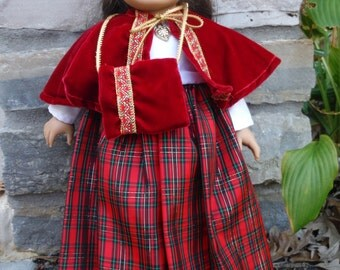 Long plaid red taffeta dress with matching cape and muff, for 18 inch doll by Project Funway on Etsy