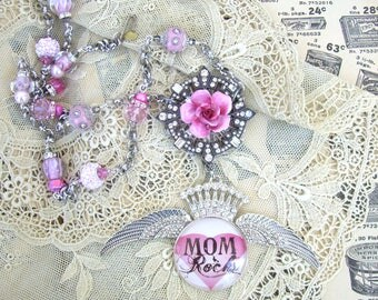 Mom Rocks Assemblage Necklace