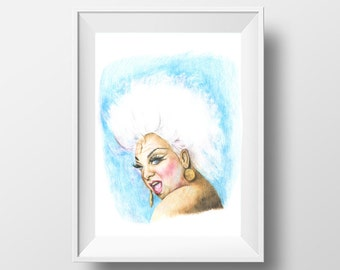 Pink Flamingos Divine John Waters Print Wall Art Fan Art Color Pencil Drawing Drag Queen