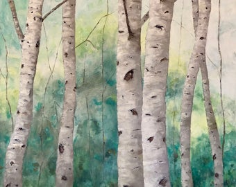 GRAND BIRCHES original oil painting by artist, Beth Capogrossi HUGE