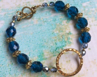 Coronation Day Bracelet - Cobalt and Gold Bracelet - Czech Glass Bracelet - Gypsy Bohemian Bracelet - Blue and Gold Bracelet