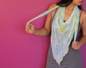 Shredded Tie Dyed Triangle Scarf ~ slowshine
