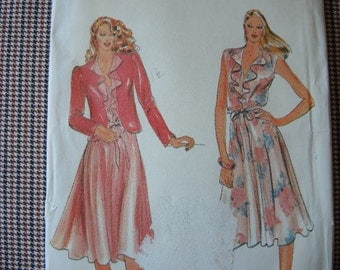 vintage 1980s Butterick sewing pattern 3573 UNCUT misses jacket and dress size 8-10-12