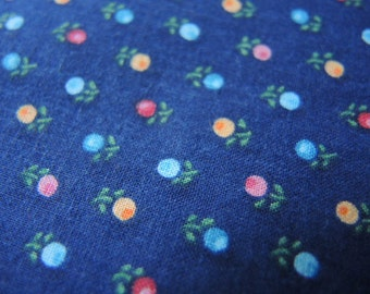 Vintage 1980s cotton calico fabric blue 44 inches wide BTY