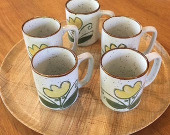 Five Stoneware Mugs, Unmarked with Yellow Flowers, Coffee Mugs, Mid Century, Stoneware, Retro, Mug Sets, Retro, Cool, Flowers, Yellow