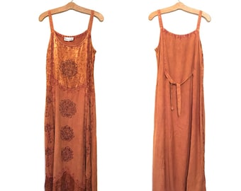 Vintage 90s Dress Revial Festival Dress Rayon Boho Dress Hippie 80s Dress Maxi Dress Grunge Dress Large Emboidered Sundress Tank Made India
