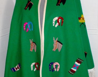 1950s Lopez Mexico Green Wool Poncho Cape Souvenir Rockability