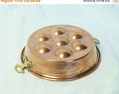 Black Friday SALE... Vintage copper escargot pan with brass handles...copper egg pan.