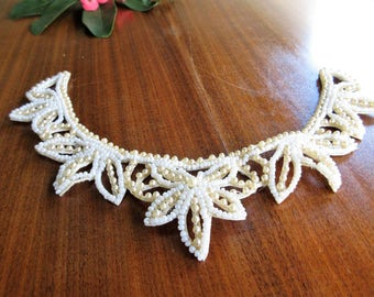 Ivory Beaded Vintage Collar/ Faux Pearl Elegant Collar Accessory/1940's Jewelry/Free Shipping