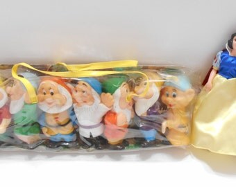 Vintage Snow White And The Seven Dwarfs Figurines--Walt Disney Productions