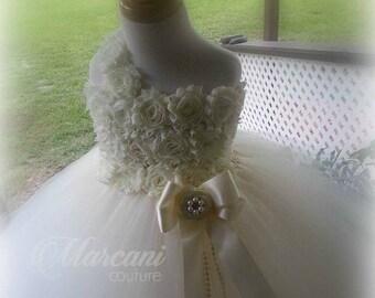 Ivory Pearl Flower Girl Dress, Flower Girl Dress,Tutu Flower Girl Dress,Vintage Tutu Dress,Vintage Flower Girl Dress,Tulle,Tutu Dress