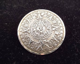 Mexican Made, 925 Sterling Brooch, Like the Mayan Calendar, Dual Purpose, Brooch and Pendant