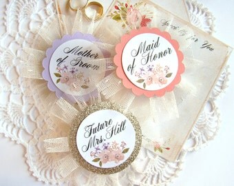 Future Mrs Pin, Bride to Be, Bride Badge, Bachelorette Party Pins, Custom Name, Bridal Shower Pin, Bride Pin, Lavender Coral, Hen Party Pins