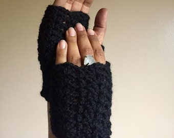 Fingerless Mitts - Black - Wool