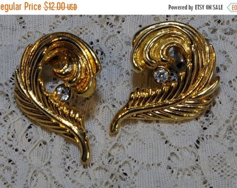 BOO SALE Vintage Gold Tone Feather Curled Around Rhinestone Earrings