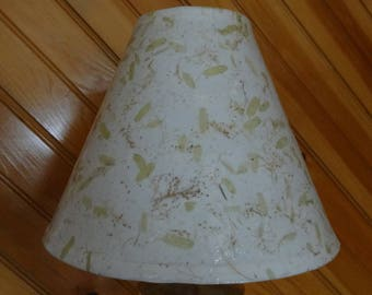 Botanical Lampshade - Small/Medium Decoupage Shade using Handmade Paper Containing Small Green Leaves and Straw/Grass