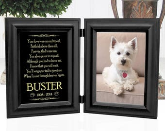 Dog Memorial Frame - Double Picture Frame 5x7 Photos - Choice Of 12 Pet Loss Poems - Personalized With Name - Metal Plaque Shines Like Gold