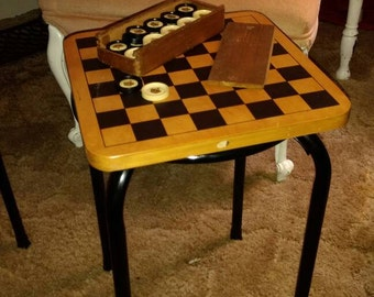 SALE----Checkers game table, vintage checker game, upcycled checker game