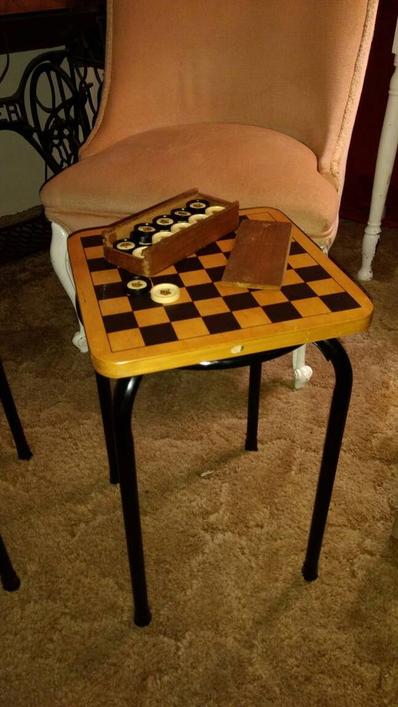 Checkers game table, vintage checker game, upcycled checker game