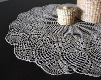 ON SALE Big crochet linen doily, Easter tableclothes, center piece, Rustic home decoration, round placemat, Ready to ship