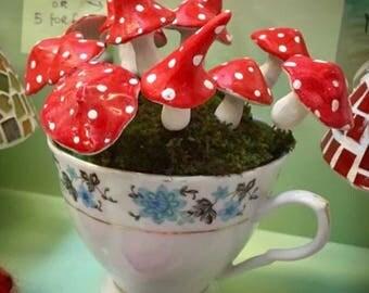 Magical mushrooms toadstools for garden or terranium fairy set of 3