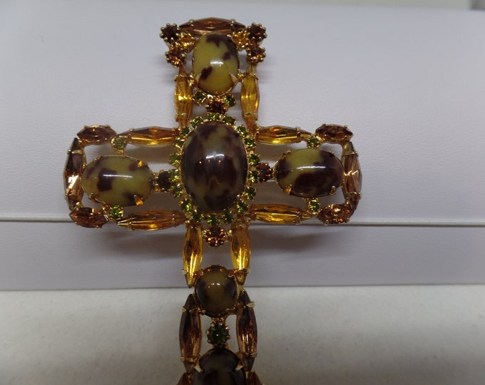 JULIANA Vintage Citrine & Peridot Crystal Cross Pendant/ Brooch! Rare!