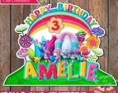 Trolls Theme Birthday Girl Colors Cake Centerpiece Topper Decoration