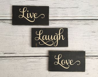 Live Laugh Love Handcrafted Wood Signs