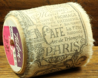 Cafe Paris - Vintage Inspired Hand-Stamped Tea Dyed and Frayed Muslin Trim Around A Charming Wooden Spool