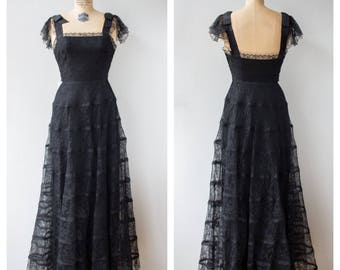 Vintage 1940s Couture Black Lace Gown / Ben Reig Full Length Dress Maxi 1930s New York / XS X Small