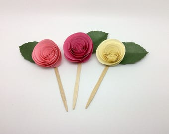 rose cupcake toppers, Mother's Day cupcake toppers, Mother's Day gift, cupcake toppers, garden party, tea party, desert table, cupcake picks
