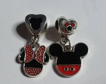 Adorable Mickey and Minnie Charms for bracelets, European bracelets or jewelry making.
